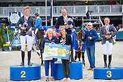 Podium 6 Years 1. Gerard O'Neill - Killossery Kaiden, 2. Julian de Boer - Fernando V, 3. Thierry Goffinet - Kannabis van de Bucxtale<br /> FEI World Breeding Jumping Championships for Young Horses 2016<br /> © DigiShots