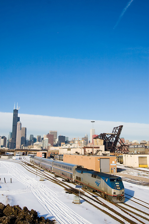 An Amtrak train departs Chicago on a cold winter day.
