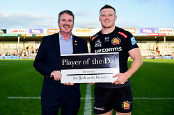 Sam Simmonds of Exeter Chiefs is Player of the Day - Mandatory by-line: Ryan Hiscott/JMP - 19/10/2019 - RUGBY - Sandy Park - Exeter, England - Exeter Chiefs v Harlequins - Gallagher Premiership Rugby