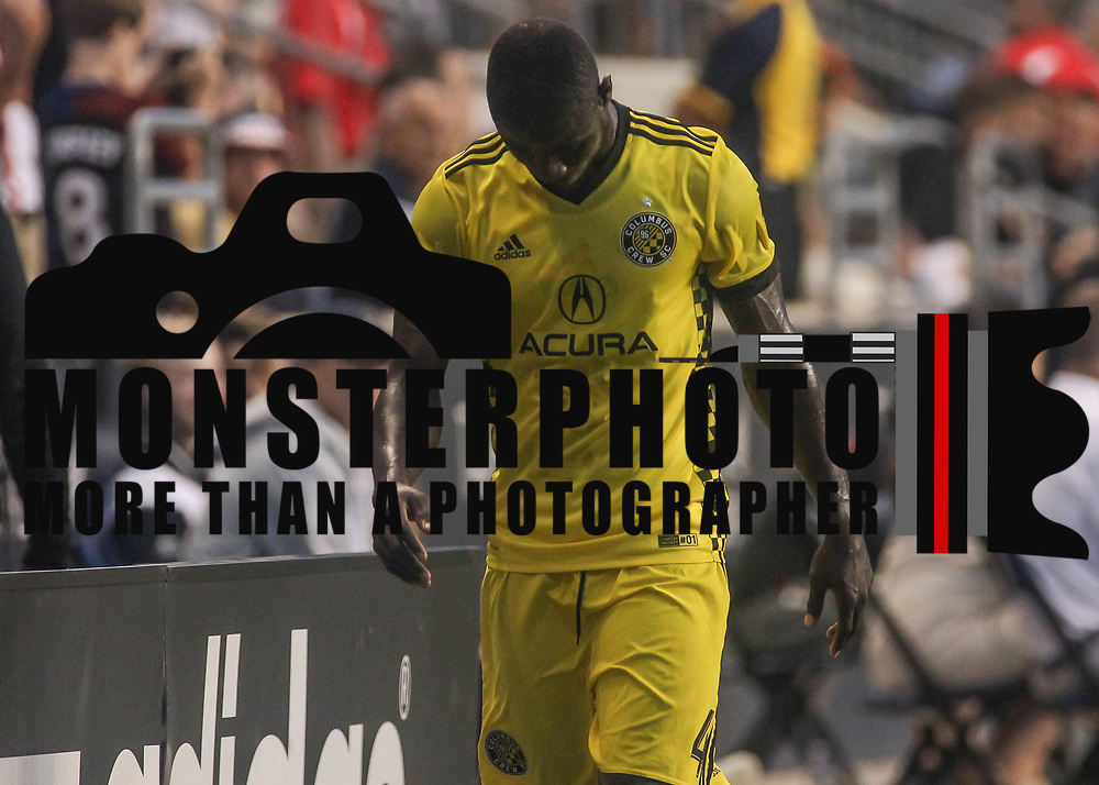 Columbus Crew SC Defender JONATHAN MENSAH (4) walks of the field after being ejected in the second half of a Major League Soccer match between the Philadelphia Union and Columbus Crew SC Wednesday, July. 26, 2017, at Talen Energy Stadium in Chester, PA.