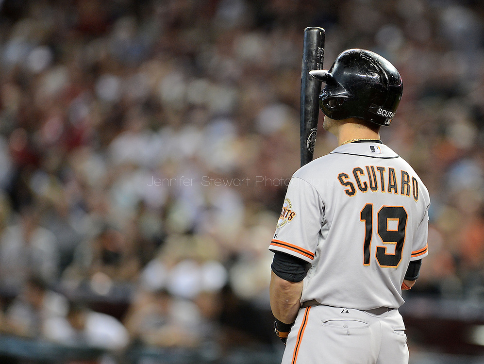 PHOENIX, AZ - JUNE 08:  Infielder Marco Scutaro #19 of the San Francisco Giants at bat against the Arizona Diamondbacks at Chase Field on June 8, 2013 in Phoenix, Arizona. The Giants defeated the Diamondbacks 10-5.  (Photo by Jennifer Stewart/Getty Images) *** Local Caption *** Marco Scutaro