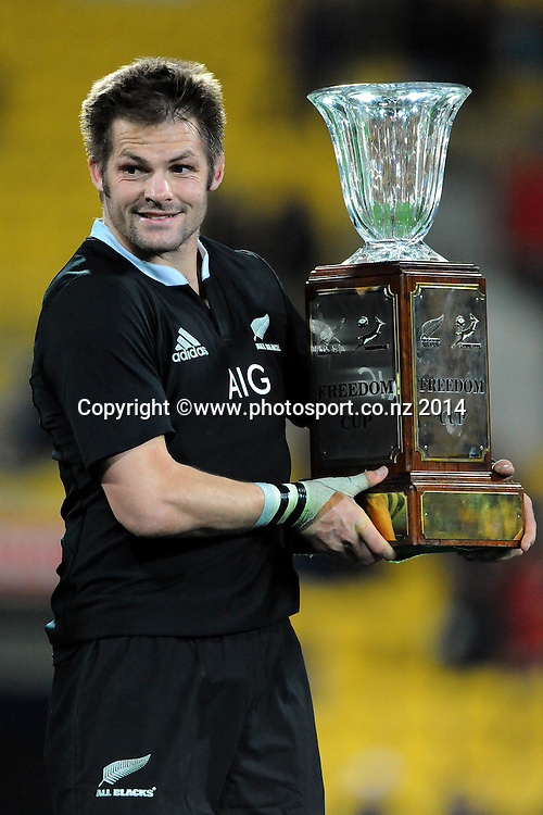 All Black Richie McCaw with the Freedom Cup during the Rugby Championship Rugby Union Test Match New Zealand All Blacks v South Africa. Westpac Stadium, Wellington, New Zealand. Saturday 13 September 2014. Photo: Chris Symes/www.photosport.co.nz