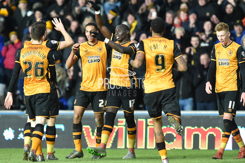 Hull City celebrate Hull City midfielder Mohammed Diame (17) scoring to go 5-0 up  during the Sky Bet Championship match between Hull City and Charlton Athletic at the KC Stadium, Kingston upon Hull, England on 16 January 2016. Photo by Ian Lyall.