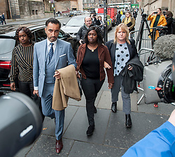 Pictured: Adama Jalloh (left) and Kadi Johnson (2nd Right), sister's of Sheku Bayoh, arrive at the Crown Office with lawyer Aamer Anwar and campaigner Deborah Coles (right)<br /> <br /> &copy; Dave Johnston / EEm