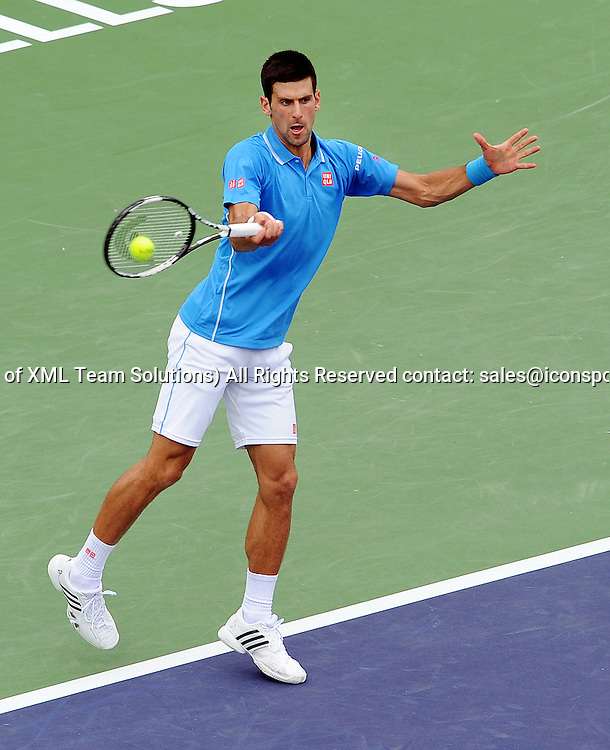 22 Mar. 2015: Novak Djokovic (SRB) in action during a finals match against Roger Federer (SUI) during the BNP Paribas Open Tennis Tournament played at the Indian Wells Tennis Garden in Indian Wells, CA.