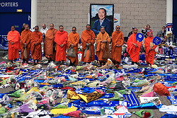 Buddhist Monks pay their respects at Leicester City Football Club. PRESS ASSOCIATION Photo. Picture date: Tuesday October 30, 2018. Leicester Chairman, Vichai Srivaddhanaprabha, was among those to have tragically lost their lives on Saturday evening when a helicopter carrying him and four other people crashed outside King Power Stadium. See PA story SOCCER Leicester. Photo credit should read: Mike Egerton/PA Wire