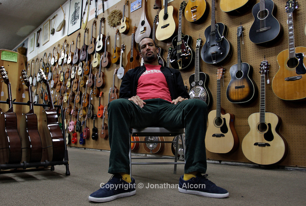 "Musician Ben Harper poses at his family's music store ""Folk Music Center"" in Claremont, California, on December 8, 2012. ©Jonathan Alcorn/JTA."