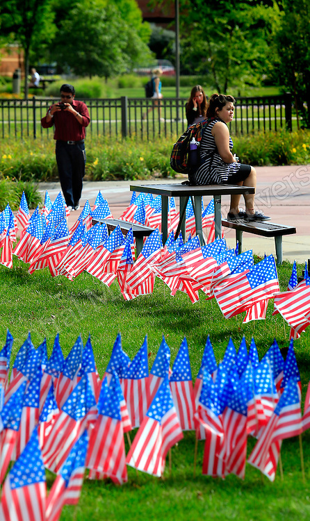 """Colin Powell said, """"You can be sure that the American spirit will prevail over this tragedy."""" Twelve years later, it certainly has. CMU students remembered 9/11in many ways Wednesday including a local emergency responders recognition ceremony in the University Center. Flags also decorated campus outside both the University Center and the Park Library.  Photos by Steve Jessmore/Central Michigan University"""