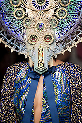 February 28, 2019 - Paris, France - Model wearing mask for Manish Arora Aut/Win 2019/2020 collection during Paris Fashion Week. (Credit Image: © Panoramic via ZUMA Press)