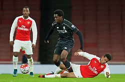 LONDON, ENGLAND - Friday, March 4, 2016: Liverpool's Ovie Ejaria in action against Arsenal's Marcus McGuane during the FA Youth Cup 6th Round match at the Emirates Stadium. (Pic by Paul Marriott/Propaganda)