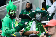Pakistan fans in fancy dress during the ICC Cricket World Cup 2019 match between New Zealand and Pakistan at Edgbaston, Birmingham, United Kingdom on 26 June 2019.