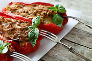 Mediterranean cuisine - Seconds - Bell peppers stuffed with tuna fish and pine seeds.