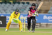 Amy Satterthwaite hits to the leg side. Women's T20 international Cricket, Australia v New Zealand White Ferns.  Manuka Oval, Canberra, 5 October 2018. Copyright Image: David Neilson / www.photosport.nz