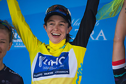 Katie Hall (USA) of UnitedHealthcare Cycling Team celebrates the overall leader's yellow jersey on Stage 2 of the Amgen Tour of California - a 108 km road race, starting and finishing in South Lake Tahoe on May 18, 2018, in California, United States. (Photo by Balint Hamvas/Velofocus.com)