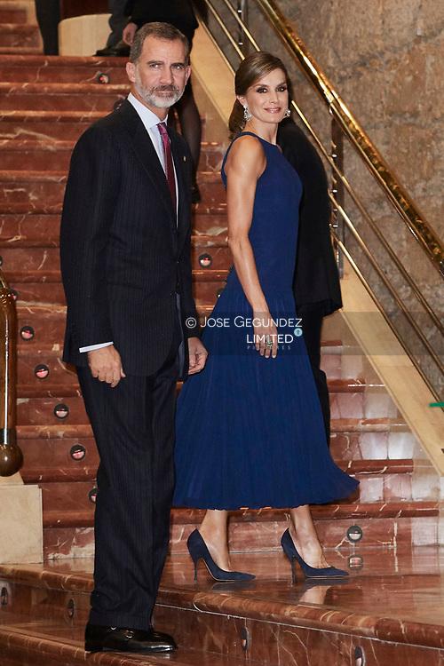 King Felipe VI of Spain, Queen Letizia of Spain attended '26th Musical Week' closing concert at the Principe Felipe Auditorium during the 'Princess of Asturias Awards 2017' on October 19, 2017 in Oviedo, Asturias, Spain