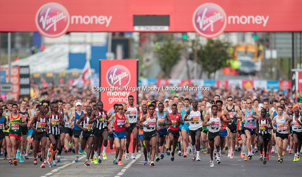 The start of the Elite Men&rsquo;s Race at Blackheath. The Virgin Money London Marathon, 23rd April 2017.<br /> <br /> Photo: Jed Leicester for Virgin Money London Marathon<br /> <br /> For further information: media@londonmarathonevents.co.uk