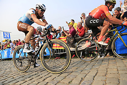 Greg Van Avermaet (BEL) CCC Team, Oliver Naesen (BEL) AG2R La Mondiale and Mathieu Van Der Poel (NED) Corendon-Circus give chase on the Paterberg for the last time during the 2019 Ronde Van Vlaanderen 270km from Antwerp to Oudenaarde, Belgium. 7th April 2019.<br /> Picture: Eoin Clarke | Cyclefile<br /> <br /> All photos usage must carry mandatory copyright credit (© Cyclefile | Eoin Clarke)