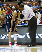 Keith Frazier (2) of Dallas Kimball has words with head coach Royce Johnson after picking up his fourth personal foul against Rosenberg Terry during the UIL 4A state championship game at the Frank Erwin Center in Austin on Saturday, March 9, 2013. (Cooper Neill/The Dallas Morning News)