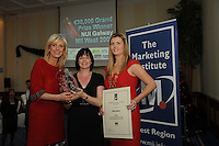 Carmel Dooley prworks presenting Gert O Rourke, HPSU Skillnet with her Marketing Award for Start Up Business:  and Chariperson of the Marketing Institute Emma Dillon Leetch, during the Marketing Institute of Ireland West Region's Annual Awards at a gala awards attended by over 160 people in the Radisson Blu Hotel, Galway .  Photo:Andrew Downes.