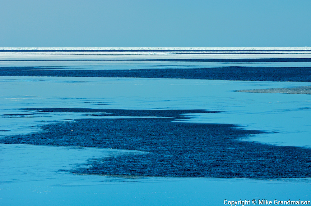 Ice and water on Lake Superior in late winter at Alone Bay.<br /> South of Lake Superior Provincial Park<br /> Ontario<br /> Canada