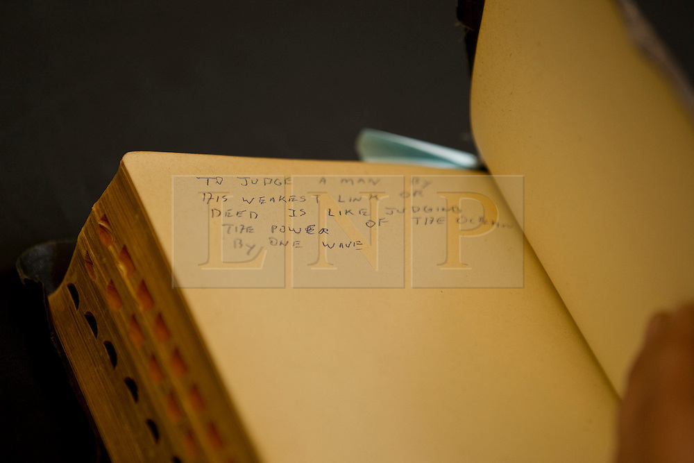 © Licensed to London News Pictures . 07/09/2012 . Manchester , UK . Notes written by Elvis Presley, written inside a personalised bible , given to The King by his Uncle Vester and Aunt Clettes for Christmas in 1957 . It goes up for auction tomorrow (8th September) at Omega Auction House in Stockport . The bible is expected to fetch £20,000 . It will be auctioned alongside other pieces of Elvis memorabilia , including a pair of the King's underpants . Photo credit : Joel Goodman/LNP