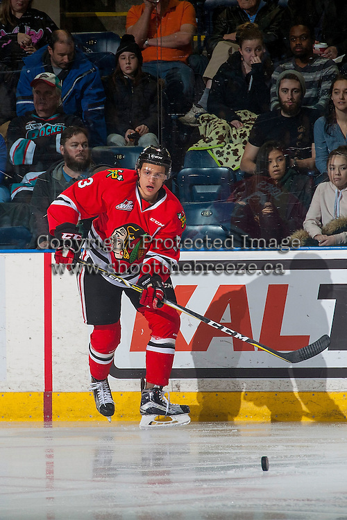 KELOWNA, CANADA - JANUARY 21: Caleb Jones #3 of the Portland Winterhawks passes the puck against the Kelowna Rockets on January 21, 2017 at Prospera Place in Kelowna, British Columbia, Canada.  (Photo by Marissa Baecker/Shoot the Breeze)  *** Local Caption ***