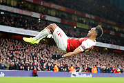 GOAL 4-1 Arsenal striker Pierre-Emerick Aubameyang (14) someraults after Arsenal's fourth during the Premier League match between Arsenal and Fulham at the Emirates Stadium, London, England on 1 January 2019.