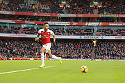Arsenal striker and scorer of Arsenal's fourth goal, Pierre-Emerick Aubameyang (14), during the Premier League match between Arsenal and Fulham at the Emirates Stadium, London, England on 1 January 2019.