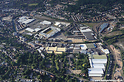aerial photograph of Norwich, Norfolk, England UK<br /> showing the Unilever Carrow Works  factory and Carrow benedictine Abbey ruins in the foreground. Also in the image are Bracondale Norwich NR1 2DD, the Trowse Bridge, Riverside Retail Park Albion Way<br /> NR1 1WR  and  King St<br /> Norwich NR1 2TN
