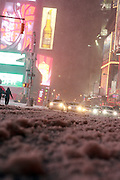 25 February 2010 New York,, New York - Atmosphere in Times Square District as New Snowstorm roars into the New York City Area on February 25, 2010 in New York City.
