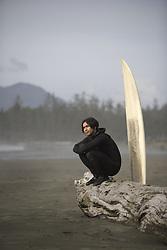 July 21, 2019 - Surfer On Beach, Cox Bay Near Tofino, British Columbia, Canada (Credit Image: © Deddeda/Design Pics via ZUMA Wire)