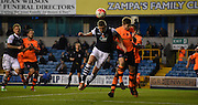 Steve Morrison readies a header during the The FA Cup match between Millwall and Flyde at The Den, London, England on 7 November 2015. Photo by Michael Hulf.