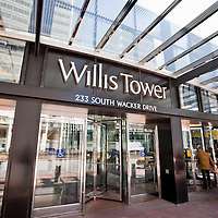 Chicago Willis Tower (Sears Tower) sign high resolution vertical photo. Willis Tower is one of the tallest buildings in Chicago and the also the world.