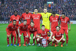 LIVERPOOL, ENGLAND - Thursday, November 26, 2015: Liverpool's players line up for a team group photograph before the UEFA Europa League Group Stage Group B match against FC Girondins de Bordeaux at Anfield. Back row L-R: Kolo Toure, Christian Benteke, Dejan Lovren, goalkeeper Simon Mignolet, Roberto Firmino, Nathaniel Clyne. Front row L-R: Jordon Ibe, Alberto Moreno, Lucas Leiva, James Milner, Joe Allen. (Pic by David Rawcliffe/Propaganda)