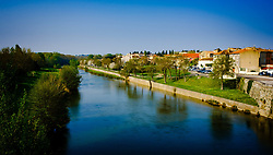 The Rive Aude flowing through the town of Carcassonne in southern France in early spring.<br /> <br /> (c) Andrew Wilson   Edinburgh Elite media