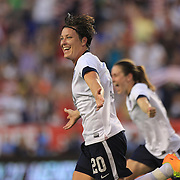 Abby Wambach, USA, celebrates her third goal becoming the greatest goal scorer in international soccer. Wambach scored four goals during the U.S. Women's 5-0 victory over Korea Republic, friendly soccer match. The four goals brings her tally to 160 goals which eclipsed Mia Hamm's all-time goal record of 158 goals.  Red Bull Arena, Harrison, New Jersey. USA. 20th June 2013. Photo Tim Clayton