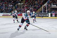 KELOWNA, CANADA - JANUARY 9:  Mark Liwiski #9 of the Kelowna Rockets skates against the Everett Silvertips on January 9, 2019 at Prospera Place in Kelowna, British Columbia, Canada.  (Photo by Marissa Baecker/Shoot the Breeze)