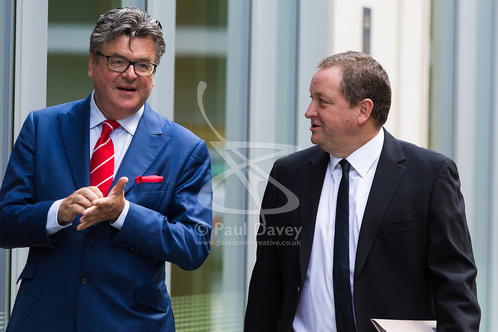 High Court, Rolls Building, London, July 6th 2017 Sports Direct CEO and Newcastle United owner Mike Ashley, right, arrives at the High Court to give evidence in an an action he is fighting, brought against him by Jeffrey Blue, a finance expert, relating to an alleged conversation they had in a pub.