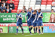 Team mates celebrating with Birmingham City midfielder, Jon Toral (20) after he scored opening goal of game 0-1 during the Sky Bet Championship match between Charlton Athletic and Birmingham City at The Valley, London, England on 2 April 2016. Photo by Matthew Redman.