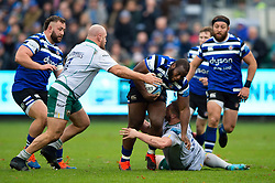 Beno Obano of Bath Rugby takes on the Northampton Saints defence - Mandatory byline: Patrick Khachfe/JMP - 07966 386802 - 09/11/2019 - RUGBY UNION - The Recreation Ground - Bath, England - Bath Rugby v Northampton Saints - Gallagher Premiership
