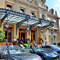 Bentley and Ferrari Parked at Casino in Monte Carlo, Monaco<br />