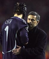 Photo: Paul Thomas.<br /> Liverpool v Chelsea. UEFA Champions League. Semi Final, 2nd Leg. 01/05/2007.<br /> <br /> Dejected Jose Mourinho, manager of Chelsea, consoles his dejected and beaten keeper, Petr Cech (L).