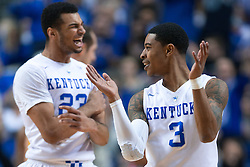Kentucky guard Tyler Ulis, right, and guard Jamal Murray celebrate a big lead in the first half.<br /> <br /> The University of Kentucky hosted the University of Missouri, Wednesday, Jan. 27, 2016 at Rupp Arena in Lexington.