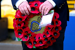 A poppy wreath at the One Call Stadium, home to Mansfield Town - Mandatory by-line: Ryan Crockett/JMP - 27/10/2018 - FOOTBALL - One Call Stadium - Mansfield, England - Mansfield Town v Milton Keynes Dons - Sky Bet League Two