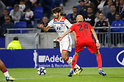 Terrier Martin of Lyon and Jallet Christophe of Nice during the French championship L1 football match between Olympique Lyonnais and Amiens on August 12th, 2018 at Groupama stadium in Decines Charpieu near Lyon, France - Photo Romain Biard / Isports / ProSportsImages / DPPI
