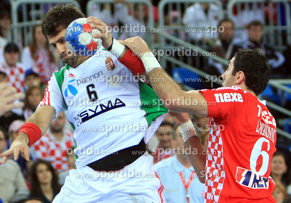 Tamas Mocsai (6) of Hungary vs Blazenko Lackovic (6) of Croatia during 21st Men's World Handball Championship 2009 Main round Group I match between National teams of Croatia and Hungary, on January 24, 2009, in Arena Zagreb, Zagreb, Croatia.  (Photo by Vid Ponikvar / Sportida)