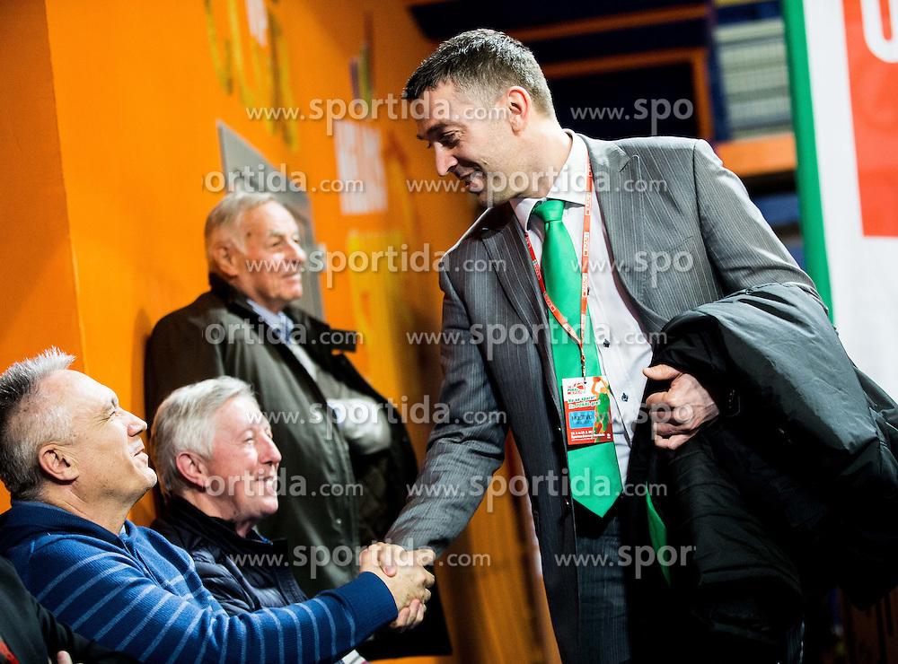 Vlado Gorjan and Dejan Mihevc, head coach of Krka during basketball match between KK Zlatorog Lasko and KK Union Olimpija Ljubljana in Semifinal of Slovenian Spar Cup 2016/17, on February 18, 2017 in Sports hall Domzale, Slovenia. Photo by Vid Ponikvar / Sportida
