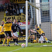 Dejection for Dundee's Rhys Weston (6) after and incredible goal-line clearance from Livingston's Ross Docherty (2) - Livingston v Dundee, IRN BRU Scottish Football League, First Division - ..© David Young - .5 Foundry Place - .Monifieth - .Angus - .DD5 4BB - .Tel: 07765 252616 - .email: davidyoungphoto@gmail.com.web: www.davidyoungphoto.co.uk