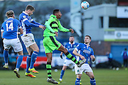 Forest Green Rovers Ethan Pinnock(16) heads the ball during the FA Trophy match between Macclesfield Town and Forest Green Rovers at Moss Rose, Macclesfield, United Kingdom on 4 February 2017. Photo by Shane Healey.