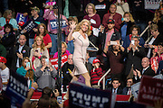 Kellyanne Conway introduces Donald J. Trump (R-Ny) as the Presidential hopeful campaigns at the Giant Center in Hersey, Pennsylvania.